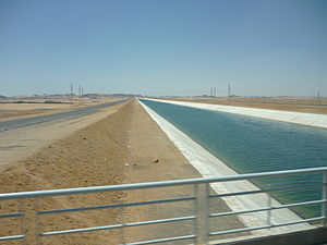 New Valley Project - Sheikh Zayed canal of New Valley project, Libyan desert, Egypt