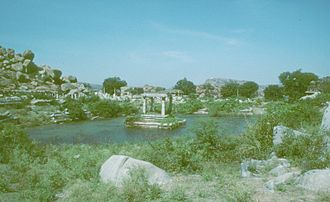 Irrigation tank - Image: Shrine In Tank Vijayanagara