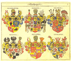 Siebmachers Wappenbuch - Page extract from Neuer Siebmacher, illustrating the coat-of-arms of ducal families