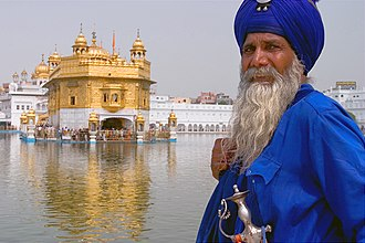 Sikhism - An Akali-Nihung Sikh Warrior at Harmandir Sahib, also called the Golden Temple