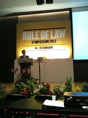 Simon Chesterman - Chesterman speaking at the Rule of Law Symposium 2012 in the Supreme Court Auditorium on 15 February 2012