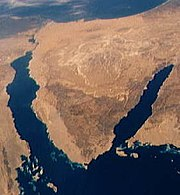 Sinai Peninsula, with the Gulf of Aqaba (east) and the Gulf of Suez (west), as viewed from the Space Shuttle STS-40.