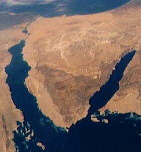 Sinai Peninsula from Southeastern Mediterranean panorama STS040-152-180