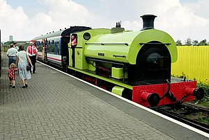 Cardiff Bay railway station - Sir Gomer operating steam train rides along the length of the platform in the early 1990s