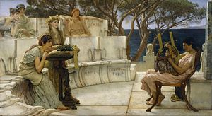Sappho and Alcaeus - Image: Sir Lawrence Alma Tadema, R.A., O.M. Sappho and Alcaeus Google Art Project