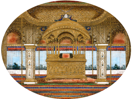 Painting of the (later) Peacock Throne in the Diwan-i-Khas of the Red Fort, around 1850 Sixteen views of monuments in Delhi Peacock Throne Red Fort Delhi 1850.png