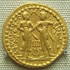 Kushan coinage - Skanda and Visakha