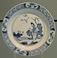 Small Dish with Woman and Child in a Garden, late 1600s, Jingdezhen, hard-paste porcelain with underglaze cobalt - Gardiner Museum, Toronto - DSC00717.JPG