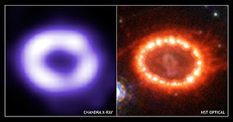 SN 1987A - The expanding ring-shaped remnant of SN 1987A and its interaction with its surroundings, seen in X-ray and visible light.