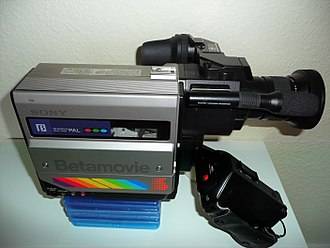 Camcorder - Sony Betamovie BMC-100P is the first consumer camcorder.  Released in 1983 for the Betamax format. It has no playback functionality and is only capable of recording