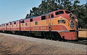 EMD E-unit - Southern Pacific EMD E7s on the Shasta Daylight in 1949