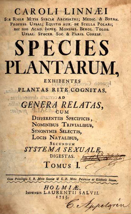May 1: Species Plantarum is published by Linnaeus Species plantarum 001.jpg