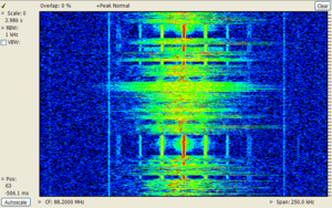 Spectral density - Spectrogram of an FM radio signal with frequency on the horizontal axis and time increasing upwards on the vertical axis.