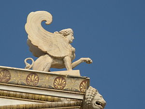 Academy of Athens (modern) - Detail of stone carving of Sphinx on the facade.