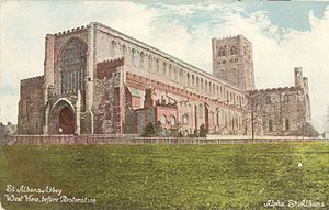St Albans Abbey west front prior to restoration in 1880. A large perpendicular window and a flat roof.
