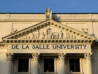 St. La Salle Hall - Image: St. La Salle Hall Pediment