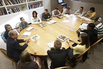 Saint Michael's College - Students gather in a classroom for First-Year Seminar.