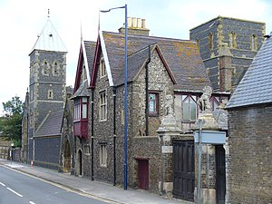 St Augustine's Abbey, Ramsgate - St Augustine's Church, St Edward's Presbytery, and the gate of The Grange: opposite the abbey site