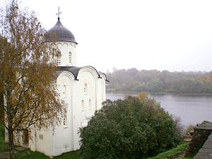 St. George's Church, Staraya Ladoga - St. George's Church seen from the south, together with the Volkhov river