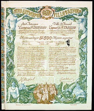 Timeline of Antwerp - Bond of the City of Antwerp, issued 18. Mai 1917