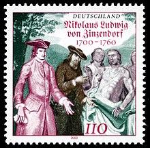 300. Geburtstag Zinzendorfs: deutsche Briefmarke aus dem Jahr 2000 (Quelle: Wikimedia)