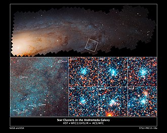 Andromeda Galaxy - Star clusters in the Andromeda Galaxy.