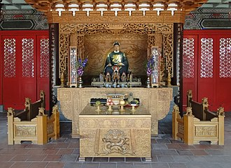 Religion in Taiwan - Main altar of the Shrine of Koxinga in Tainan.