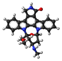 Ball-and-stick model of the staurosporine molecule