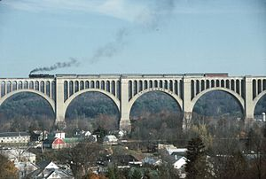 Tunkhannock Viaduct - A Steamtown National Historic Site excursion train crosses Tunkhannock Viaduct.