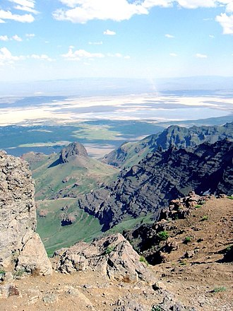 Steens Mountain Wilderness - View from the top of Steens Mountain, looking out to Alvord Desert
