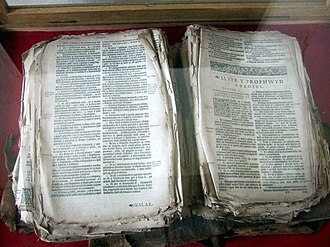 Bible translations into Welsh - This tattered Welsh bible from 1620 in Llanwnda church is said to have been rescued from the hands of French invaders in 1797