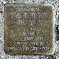 Photo of Toni Therese Nussbaum brass plaque