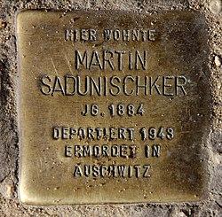 Photo of Martin (Meier) Sadunischker brass plaque