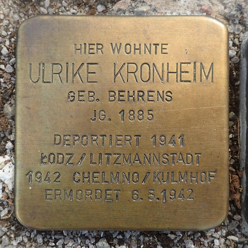 Stolperstein Gardelegen Sandstraße-Marktstraße Ulrike Kronheim