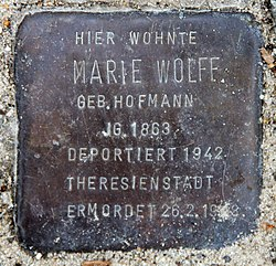 Photo of Marie  Wolff brass plaque
