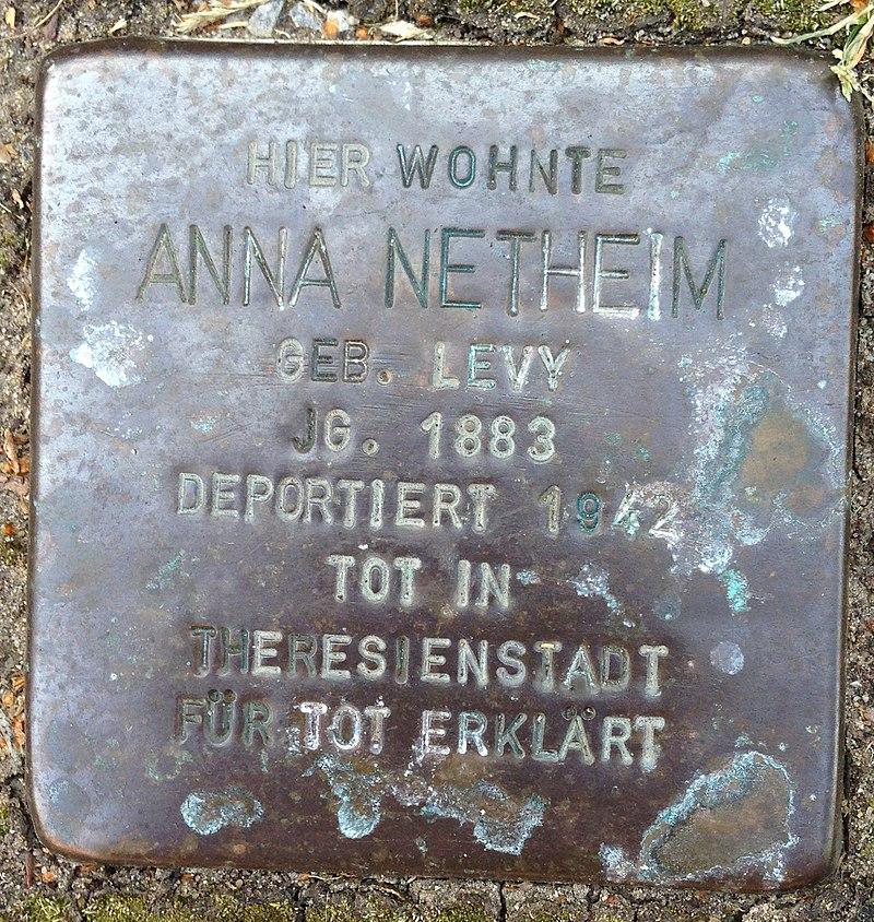 Stolperstein Höxter Ottbergen Nethestraße 4 Anna Netheim
