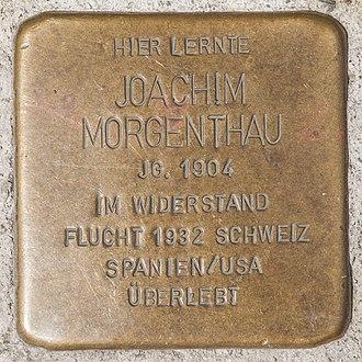 Hans Morgenthau - Stolperstein for Hans Morgenthau at the Casimirianum Coburg.