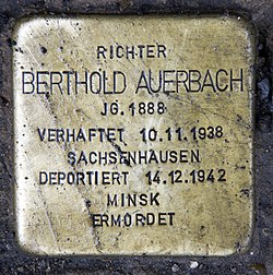 Photo of Berthold Auerbach brass plaque