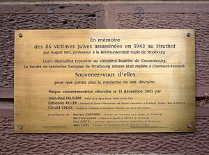 August Hirt - Memorial of the 86 Jewish victims murdered in 1943 at Struthof by August Hirt. Located at Institute of Anatomy of Strasbourg.