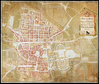 Stuttgart - Drawing of Stuttgart, 1794.