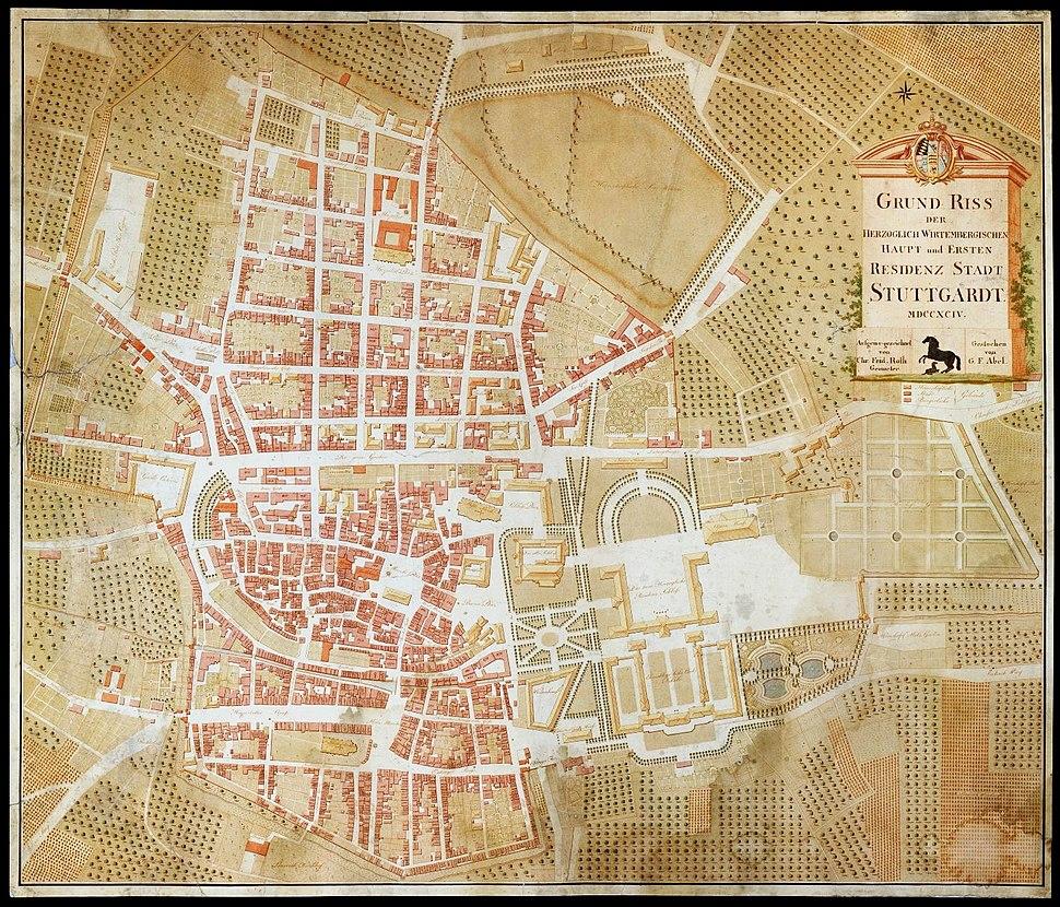 Stuttgart, Stadtplan, 1794, 2 farbig