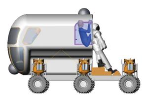Suitport - An astronaut entering a spacesuit through a suitport