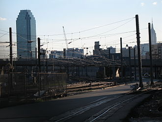 Sunnyside Yard - The yard at dusk from the east; Citigroup Building in background left