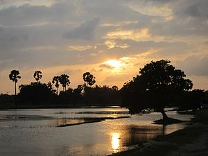 Northern Province, Sri Lanka - Sunset over a lagoon