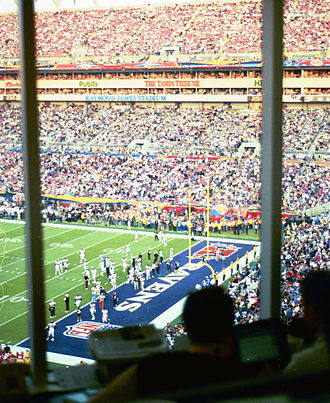 Super Bowl XXXV - A view of the endzone from the press box.
