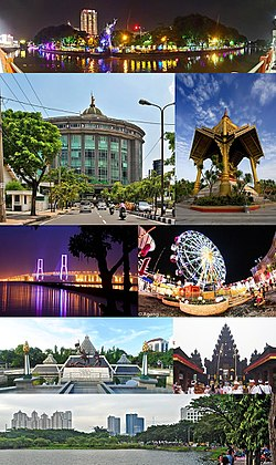 From top, left to right :  Surabaya Central Park, Graha SA Surabaya Building, Sanggar Agung Temple, Suramadu Bridge at night, Surabaya Carnival Park, Museum 10 November, one of the Hindus temple in Surabaya (Pura Jagatnatha Perak), and UNESA Lake.