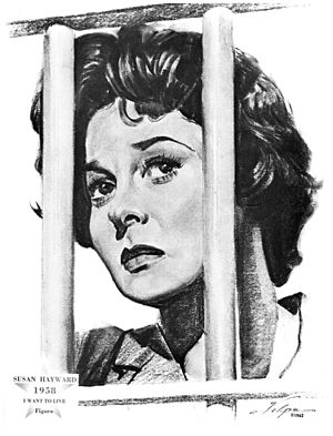 Susan Hayward - Drawing of Hayward in character after winning an Oscar for I Want to Live, by artist Nicholas Volpe