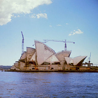Sydney Opera House - Construction progress in 1966