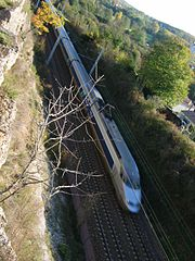 A TGV Atlantique on an enhanced ordinary track.