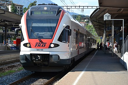 TiLo train in station in Lugano